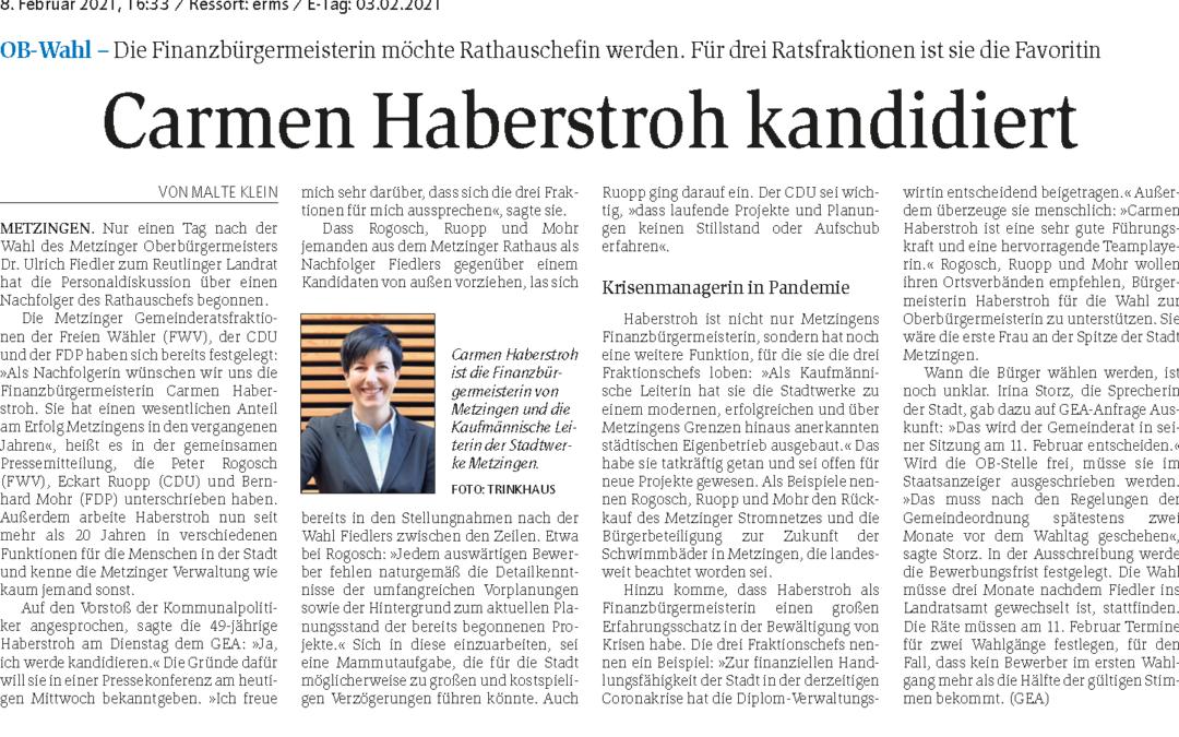 Carmen Haberstroh kandidiert